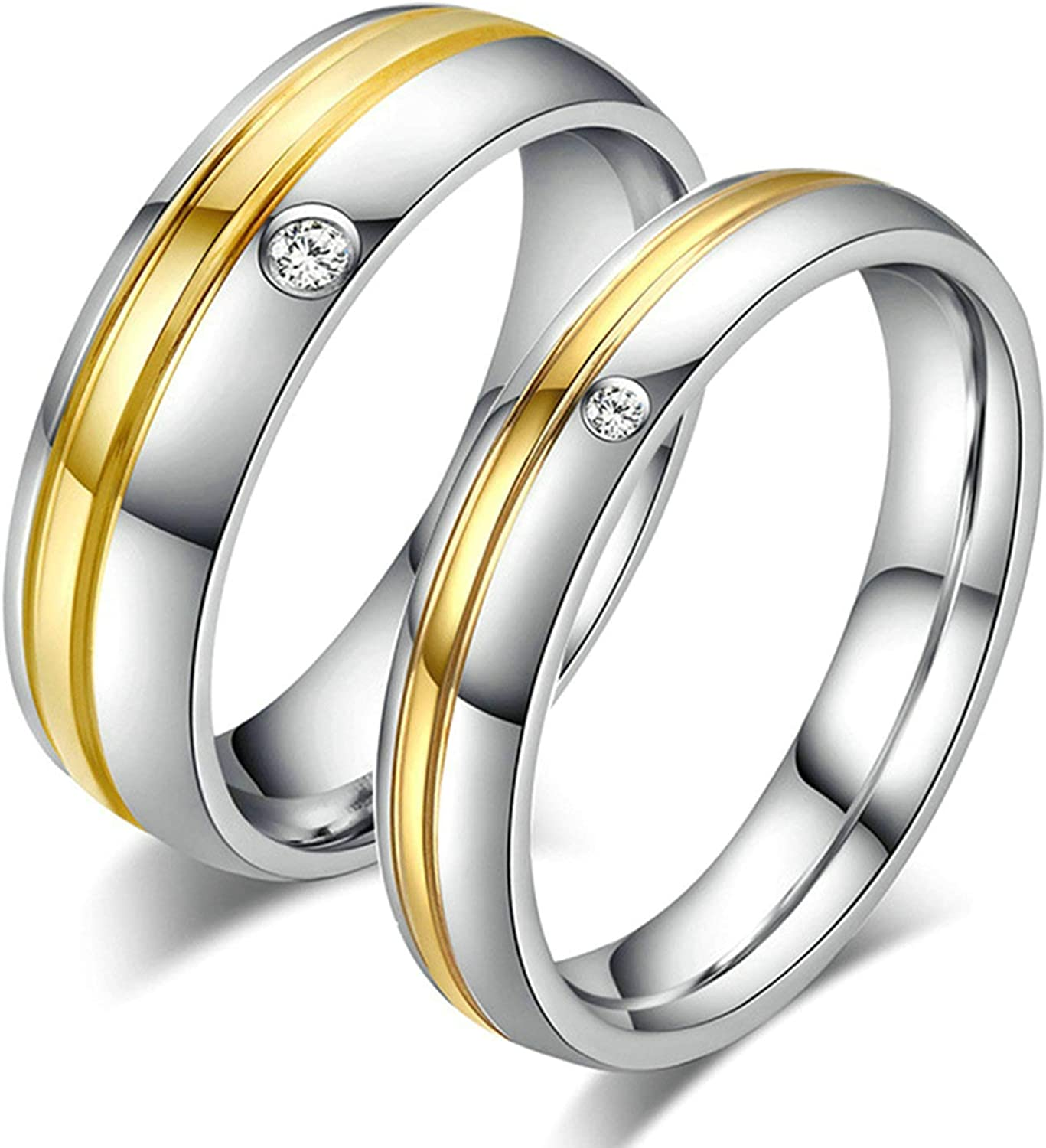 AMDXD Jewelry Wedding Band Couple Gold Stripe with Cubic Zirconia Silver Gold Stainless Steel Rings Men 6 MM,Single Sale