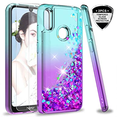 on sale 87f4e fb292 LeYi Case for Huawei Y6 2019/Honor 8A with Tempered Glass Screen Protector  [2 pack], Girl 3D Glitter Liquid Personalised Clear Silicone Gel Shockproof  ...