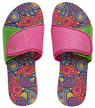 Womens' Antimicrobial Shower & Water Sandals for Pool Beach Dorm and Gym - Paisley Adjustable Slide
