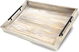 Decorative Ottoman Serving Tray with Handles 20 X 14 X 2.5 in. For Kitchen, Coffee Table, Home Decor, Breakfast Trays - Wooden Serving Platter - Rustic Country Platters - Wood Server