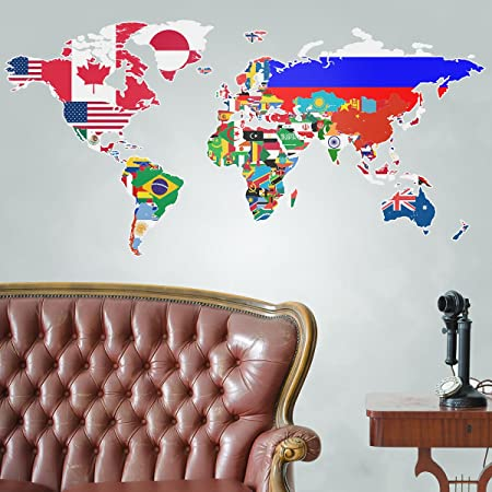 Flags of the world map wall stickers amazon kitchen home flags of the world map wall stickers gumiabroncs Gallery