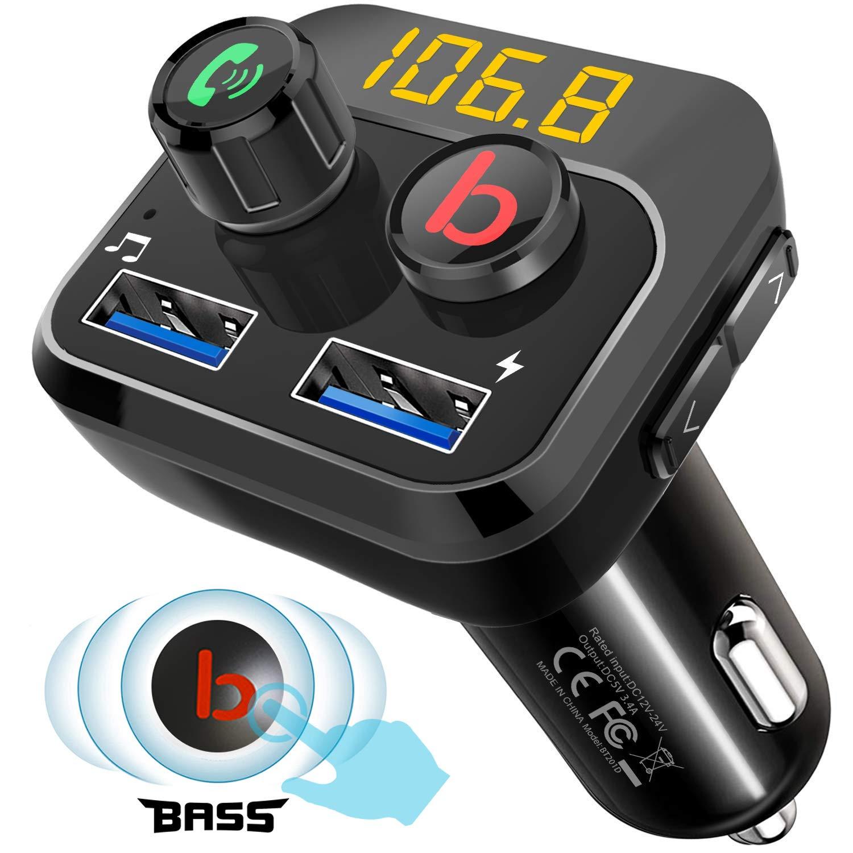 Bluetooth FM Transmetteur Kit Voiture Mains Libres Carte de Support//Disque USB Tinzzi Bluetooth 5.0 avec de Basse Lecteur MP3 Deux Ports USB 5V // 3.4A pour iPhone et Android
