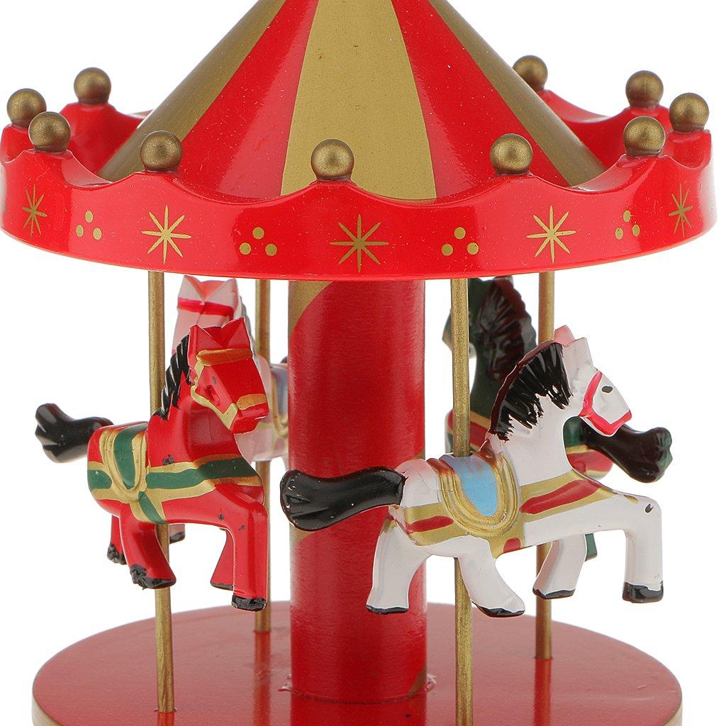 - Rouge et Or Bo/îte /à Musique Carrousel Man/ège Bois Rainbow D/écoration Cadeau Jouet Musical pr Enfant L 10 Styles