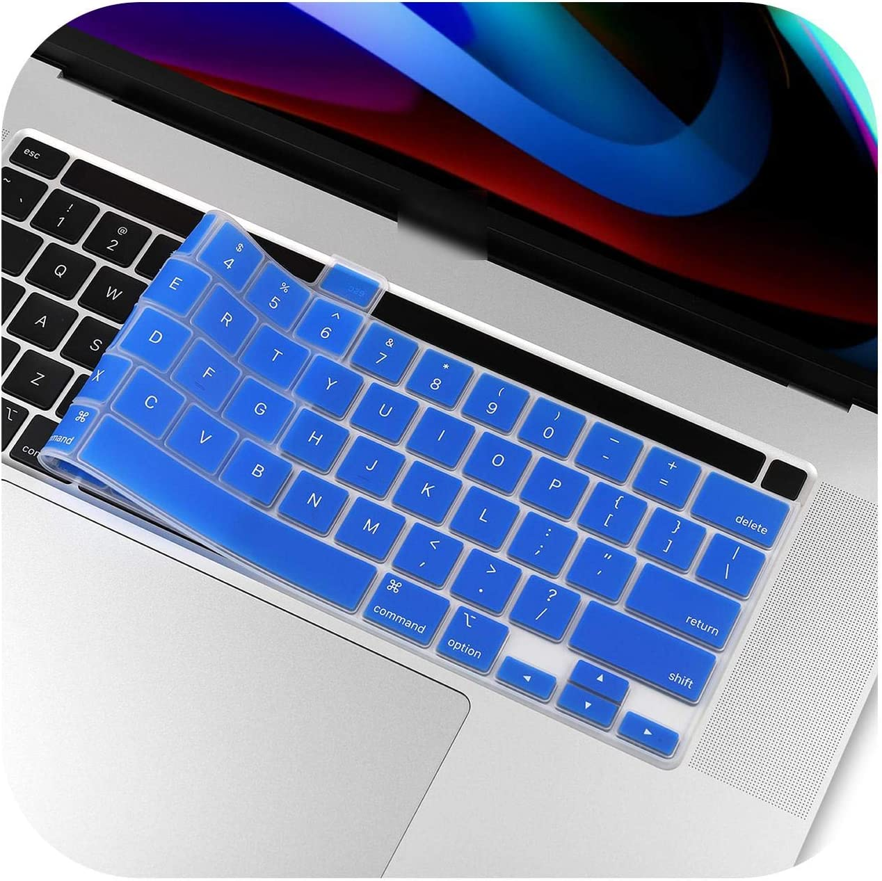 Keyboard Cover for New MacBook Pro 16 2019 Model A2141 US Enter English Alphabet Silicone Keyboard Protector Skin-Red