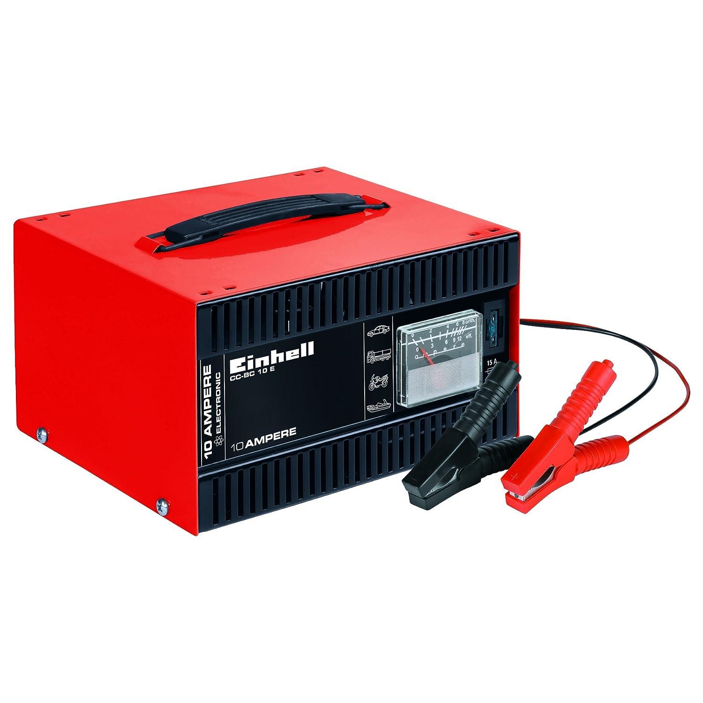 Einhell Batterie-Ladegerä t CC-BC 10 E (fü r Batterien von 5 bis 200 Ah, 12 V Ladespannung, eingebautes Amperemeter, Ladeelektronik, Tragegriff) 1050821