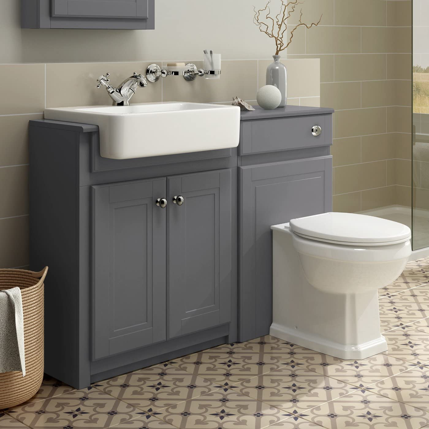 10mm Combined Vanity Unit Toilet Basin Grey Bathroom Furniture Storage  Sink