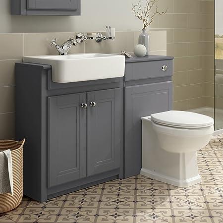 IBathUK 1100mm Combined Vanity Unit Toilet Basin Grey Bathroom Furniture  Storage Sink