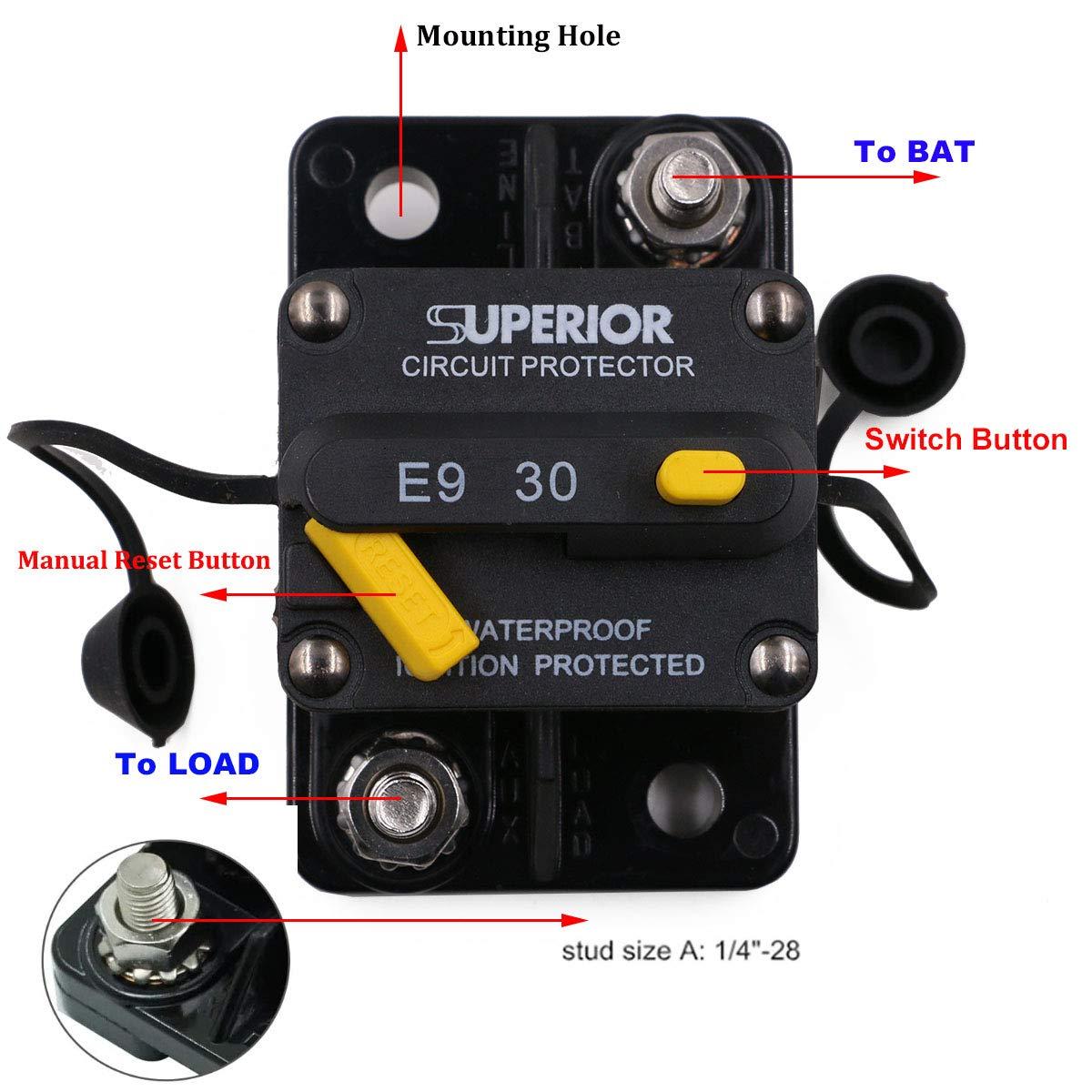 Circuit Breaker 100A Waterproof Marine Thermal Circuit Breaker ...
