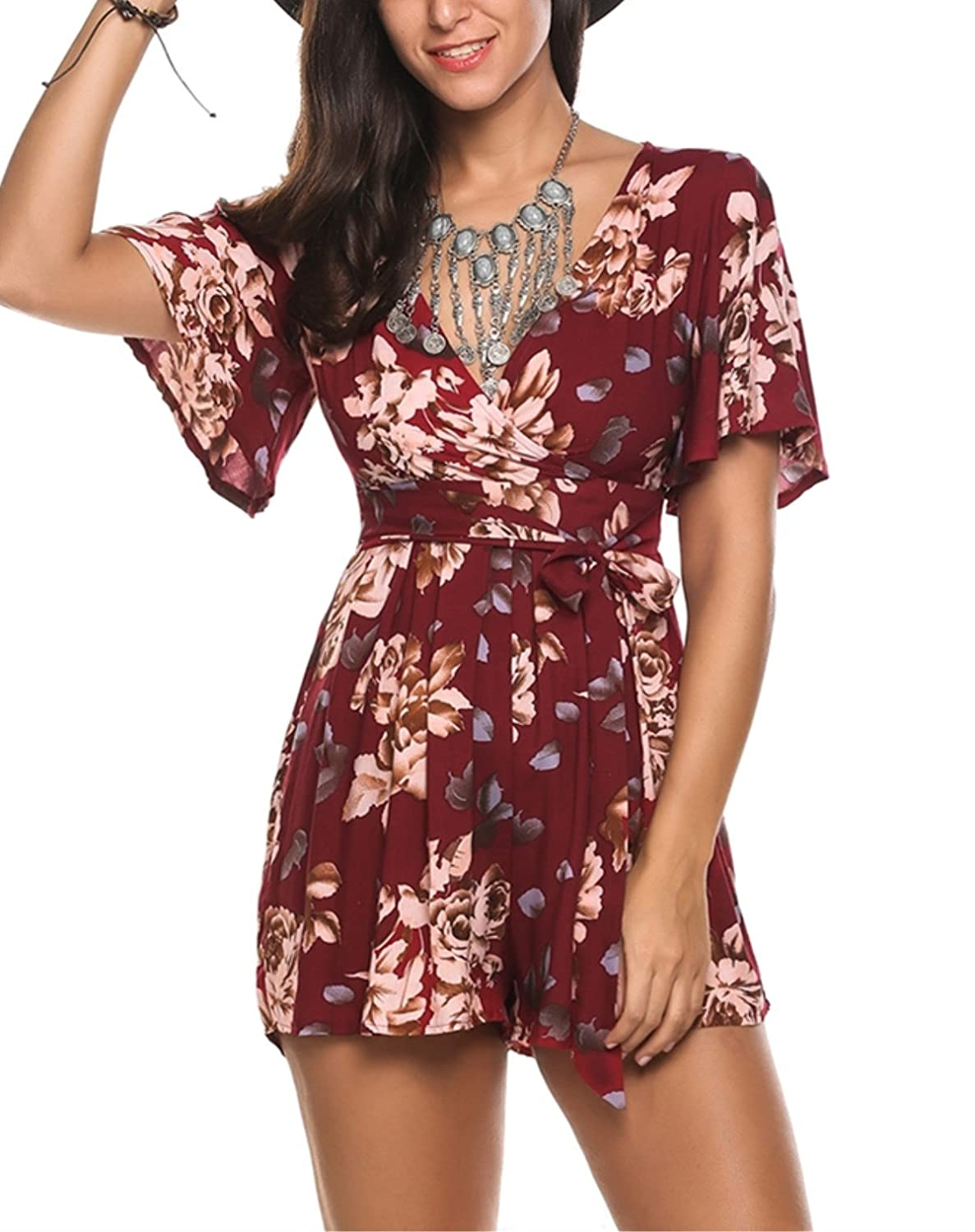 Kancystore Women's Cross Front Floral Printed Deep V Neck Romper Jumpsuit