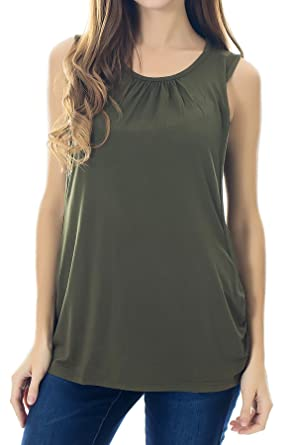 701b0fe82ab51 Smallshow Women's Maternity Nursing Tank Top Sleeveless Comfy Breastfeeding  Clothes,Olive Green,Small