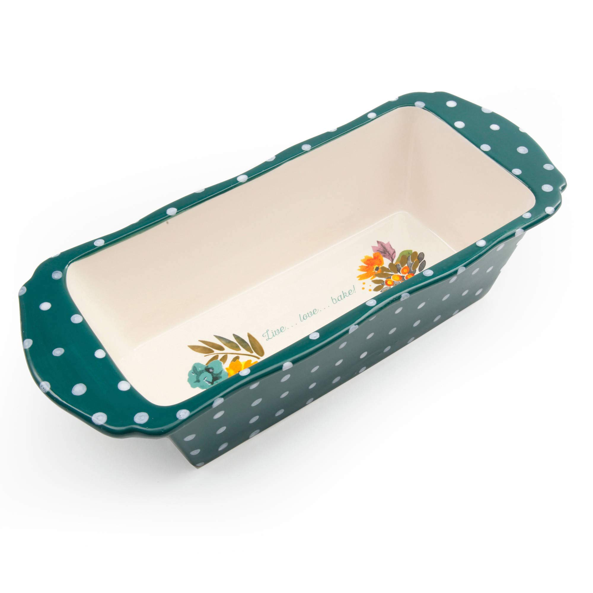 The Pioneer Woman''Retro Dots'' Stoneware Loaf Pan 9.5'' x 4.5'' x 2.6''