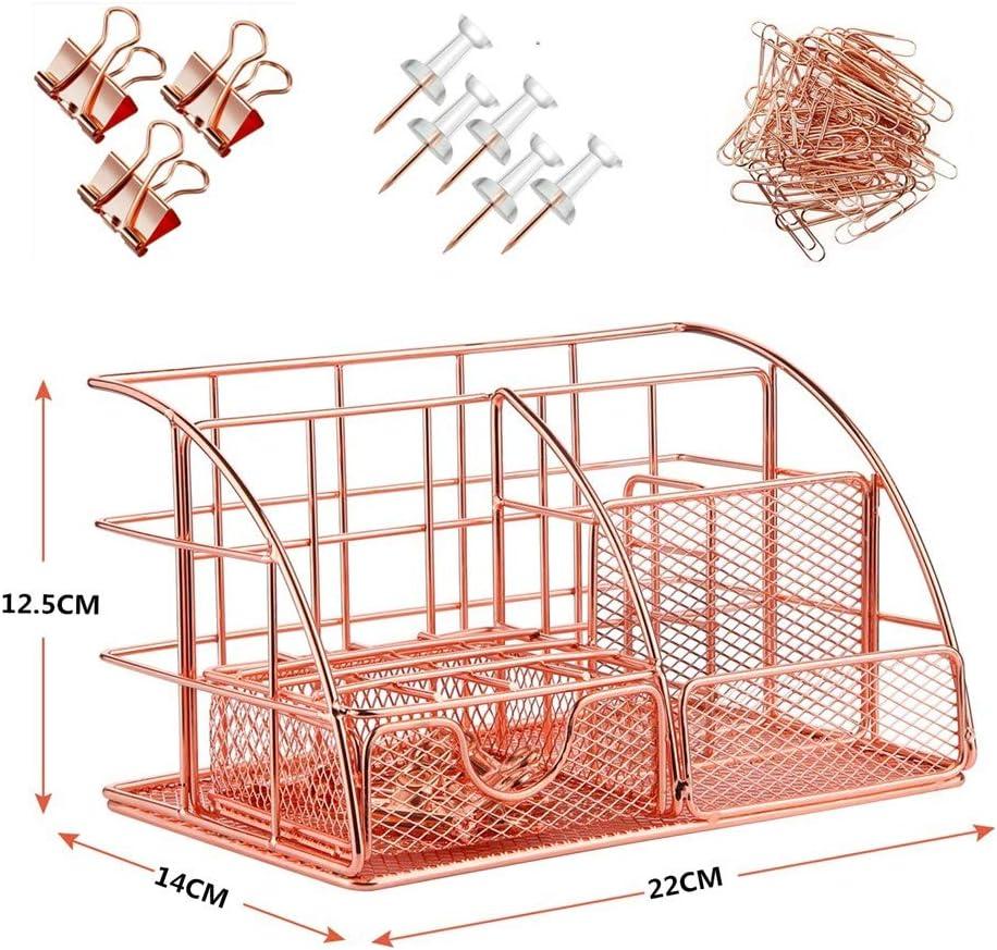 Tisch Organizer Metall mit Schublade und Stiftehaltern B/üro Organizer in Ros/égold Schreibtisch Organizer 24 x14 x 13 cm
