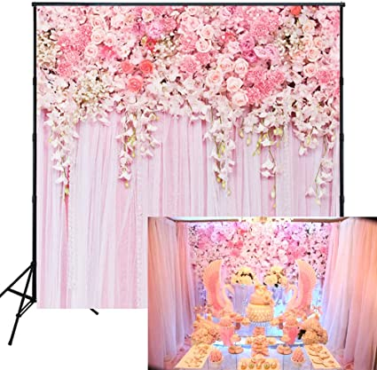 8x12 FT Rose Vinyl Photography Backdrop,Watercolor Painting Look Roses Peonies Botanical Romantic Bouquet Corsage Background for Baby Birthday Party Wedding Graduation Home Decoration
