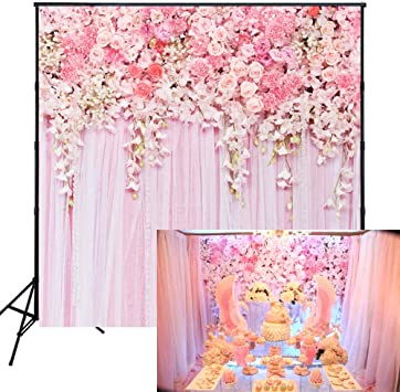 Muzi Pink Flowers Wall Photography Backdrops Rose Floral Spring Photo Background Baby Shower Wedding Studio Photographers Dessert Table Decor Booth