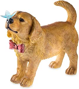Plow & Hearth Golden Retriever Puppy Dog Yard and Garden Statue with Red Bow Tie, Solar-Powered Blue Butterfly Accent and Built-in Solar Panel on Back - 14.5 L x 6 W x 11 H