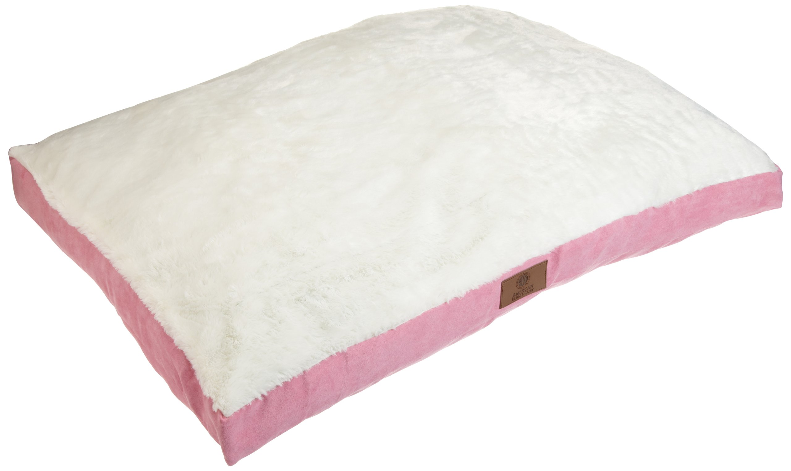 American Kennel Club Solid Suede Gusset Pet Bed with Fur Top, Pink