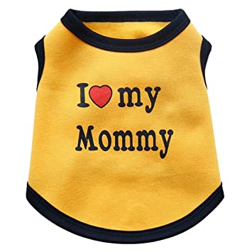 d99a0e35c Amazon.com : AOFITEE Dog Shirt I Love My Mommy Printed Puppy Summer ...