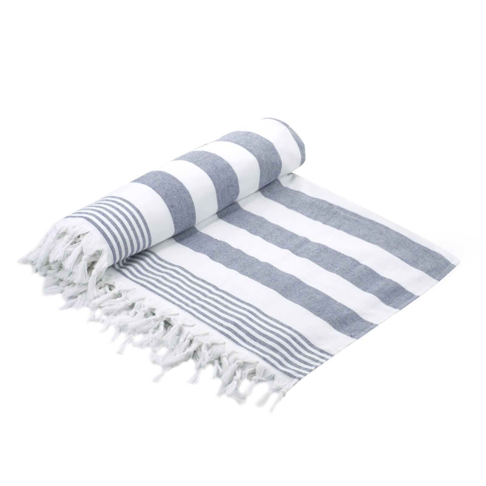 Cottonna 100% Luxury Turkish Cotton Oversized Beach Blanket, 80'' by 80'', Peshtemal Front with Terry Loop Back, Fouta Blanket, Throw, Peshterry Beach Towel Queen Size (White-Blue)