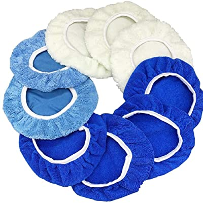 9 to 10 Inches Buffer Bonnets 9Pcs Waxers Bonnet Set Polishing Pads Bonnet Car Polisher Pad Buffer Bonnet Polishing Pad Car Wax Kit - Mix Pack of Coral Fleece, Woolen, Microfiber: Automotive