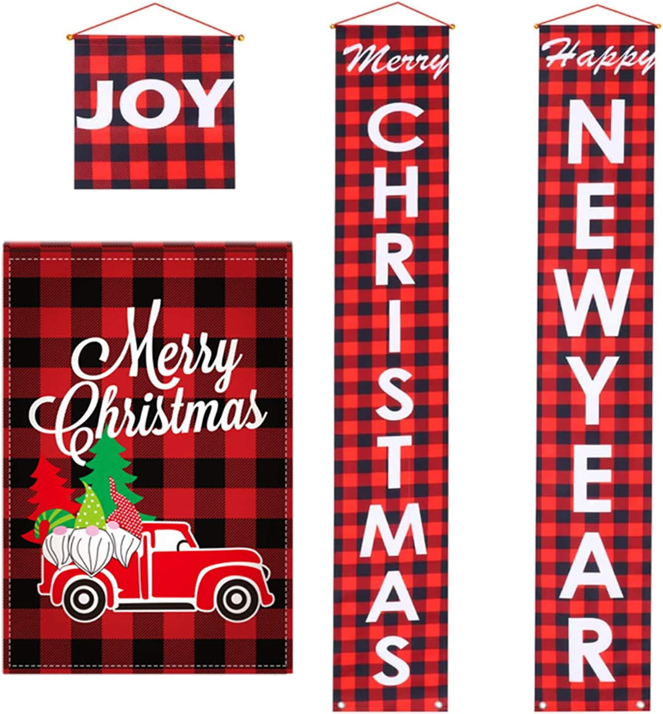 Christmas Garden Outdoor Flag and Merry Christmas Happy New Year Banners Porch Sign Hanging Flag Xmas Decorations for Front Door Home Yard Wall Winter Party Supplies