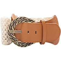 eVogues Plus Size Ivory Burnished Buckle Elastic Belt - One Size Plus