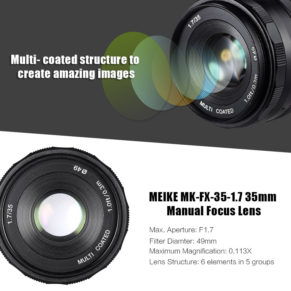 Meike 35mm F1.7 Manual Focus Prime Lens for Micro Four Thirds MFT ...