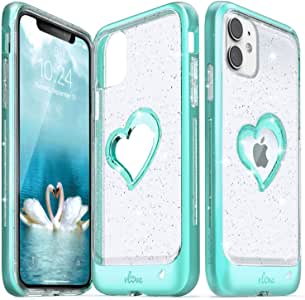 Vena iPhone 11 Glitter Case, vLove Glitter Heart Case Slim Dual Layer Protection Designed for iPhone 11 - Teal (PC) and Clear TPU with Glitter