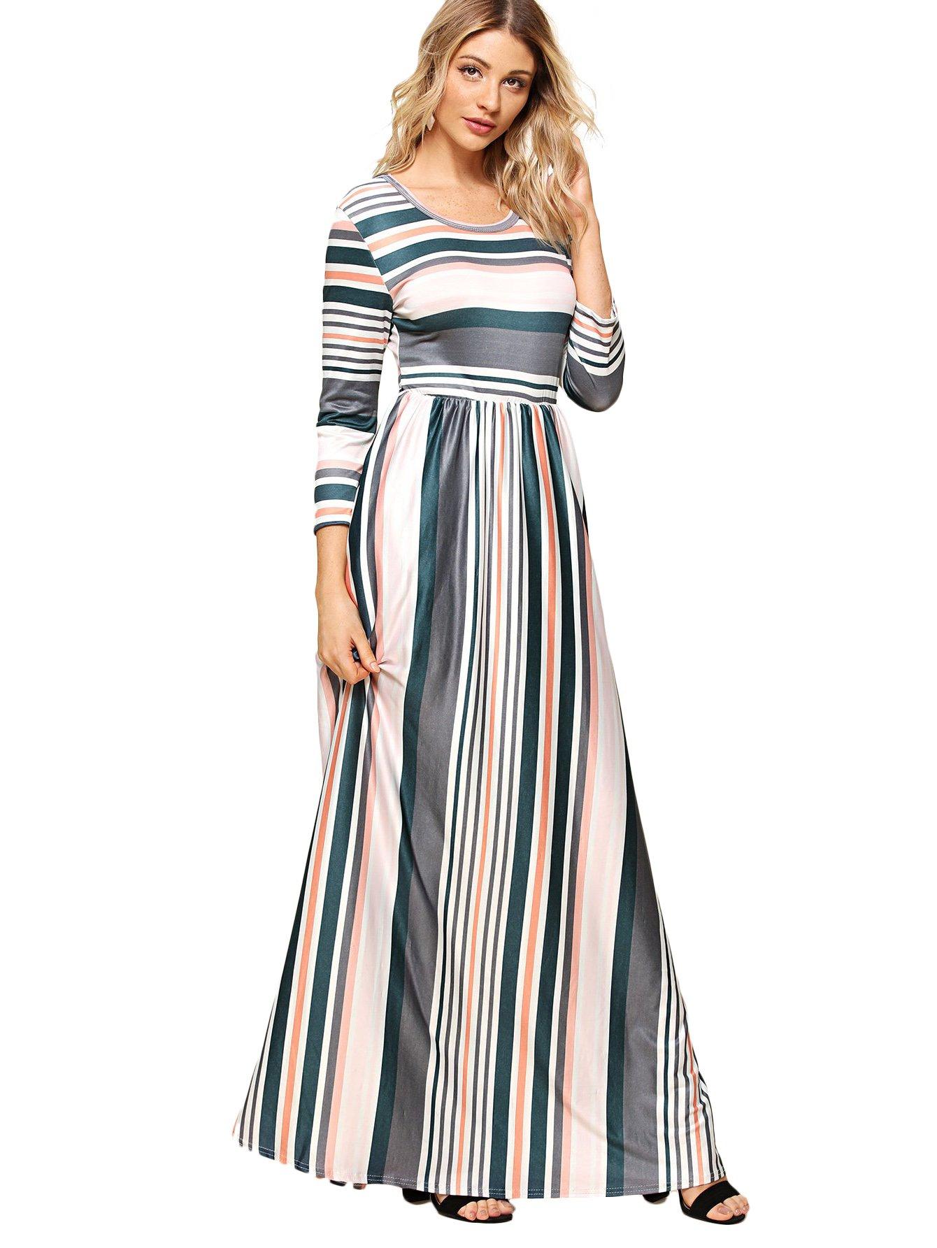 Milumia Women's Long Sleeve Striped High Waist Maxi Dress Large Multicolor-1