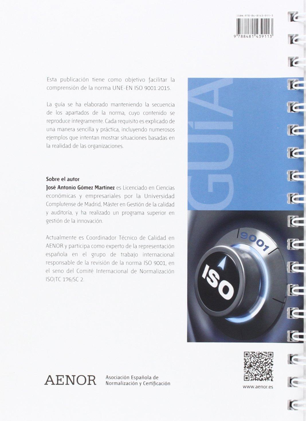Guía para la aplicación de UNE-EN ISO 9001:2015: José Antonio Gómez Martínez: 9788481439113: Amazon.com: Books