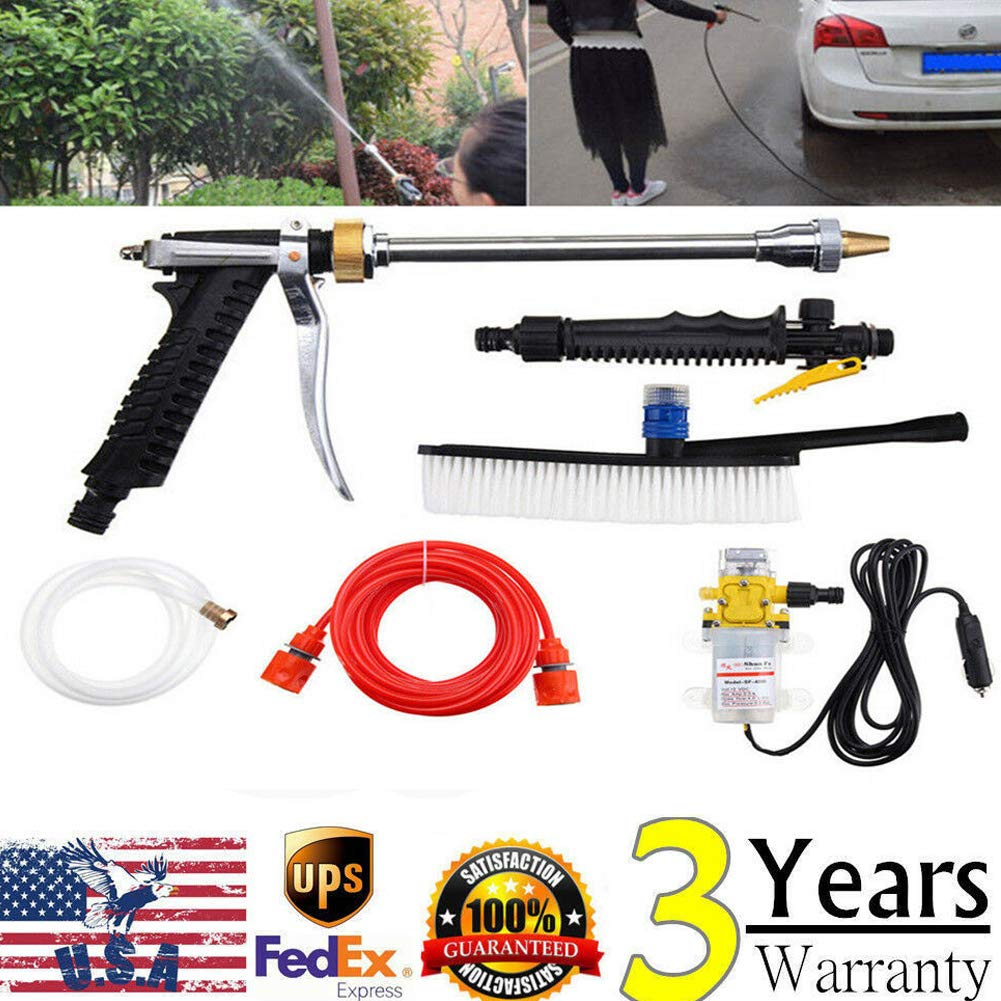 YIYIBYUS Pressure Washer Gun, 160PSI 12V Car Cleaner Water Gun Mini Portable High Pressure Car 100W Washer Cleaner Water Gun Wash Pump Kits Tool, USA Stock