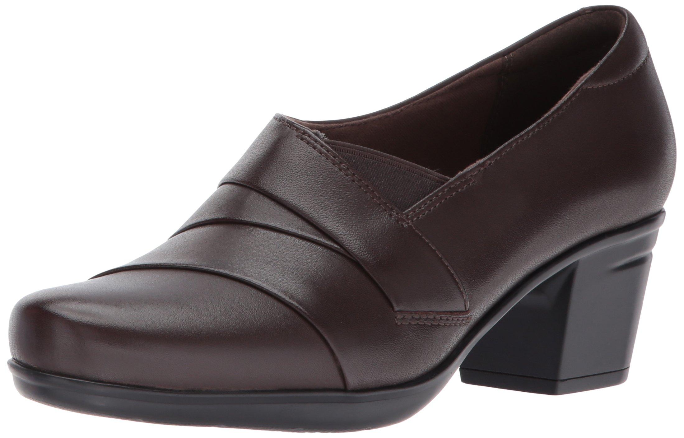 Clarks Women's Emslie Warbler Pump,Dark Brown Leather,8.5 M US