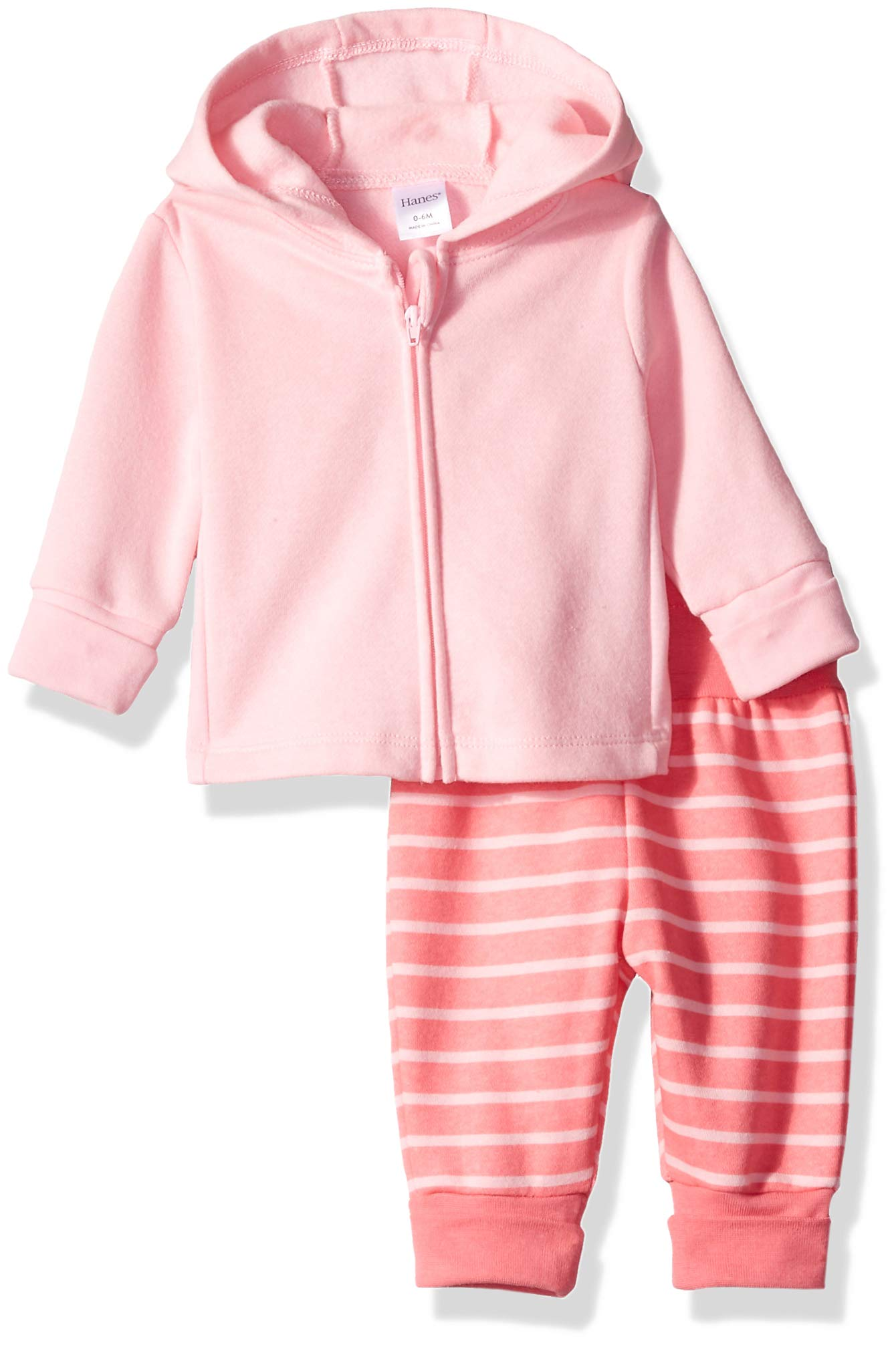 Hanes Ultimate Baby Flexy Adjustable Fit Jogger with Zippin Fleece Hoodie, Pinks, 0-6 Months by Hanes