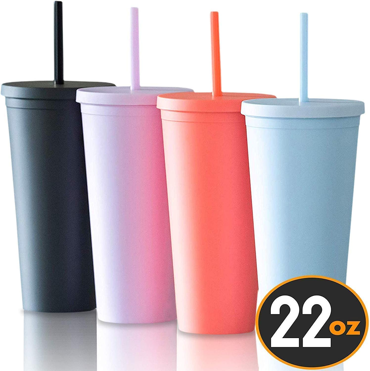 Tumblers with Lids (4 pack) 22oz Colored Acrylic Reusable Cups with Lids and Straws | Double Wall Matte Plastic Bulk Tumblers With FREE Straw Cleaner! Vinyl DIY Gifts