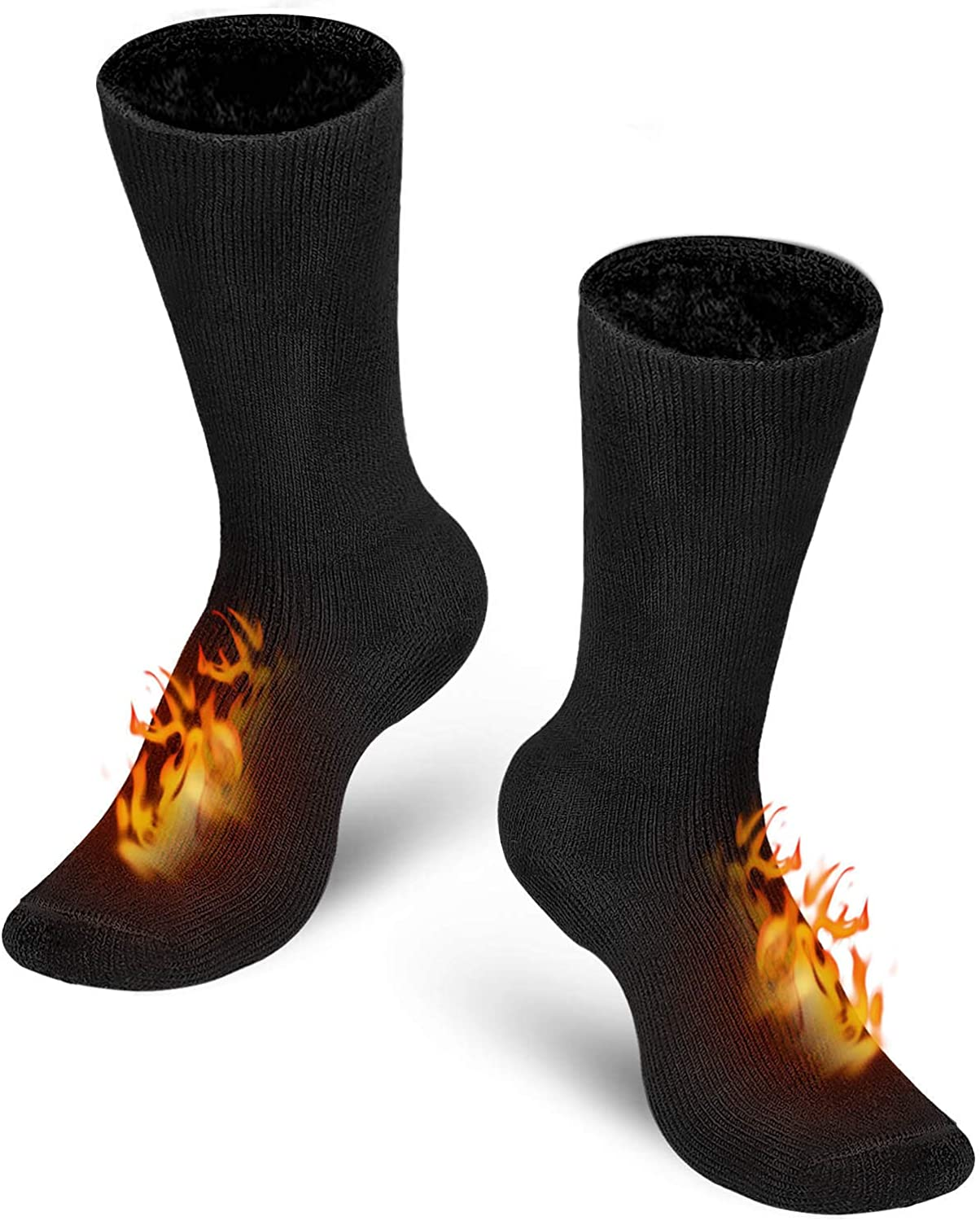 Bymore Heated Socks for Women, Thermal Socks for Men, Warm Thick Winter Socks Insulated Cold Weather-2Pack