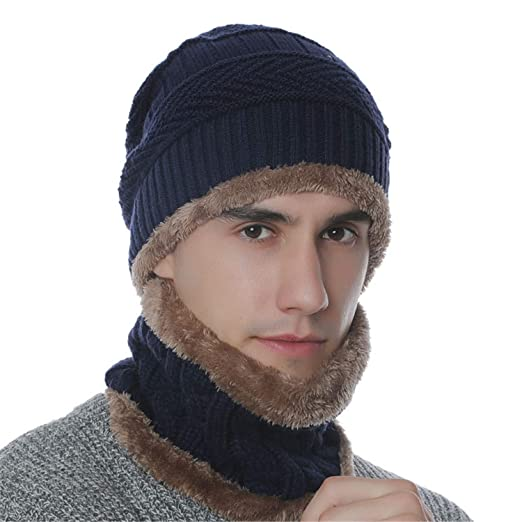 4201874b9dfd5 Men Beanie Hat Scarf Set Winter Warm Knit Hat and Infinity Scarf Gift Set
