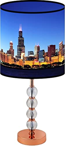 LampPix 22.5 Inch Custom Printed Table Desk Lamp Shade Chicago Skyline. Includes Decorative Acrylic Round Stand