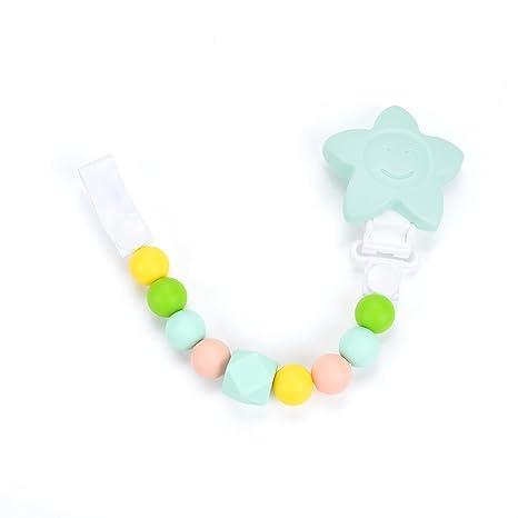 Cadena para Chupete - Chupetero Mordedor de Silicona Antibacteriana para los Dientes y Dentición del Bebe - Portachupetes - Ecológico, Hipoalergénico, ...