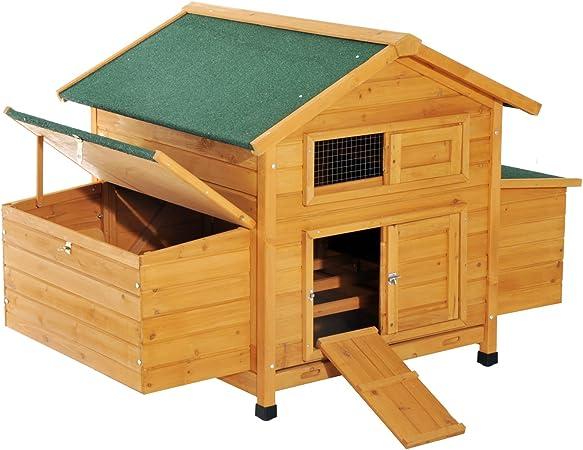 PawHut Gallinero Jaula para 4-6 gallinas de jardín con 2 cajones Nido Techo Impermeable de Madera 150 x 100 x 96,5 cm: Amazon.es: Productos para mascotas