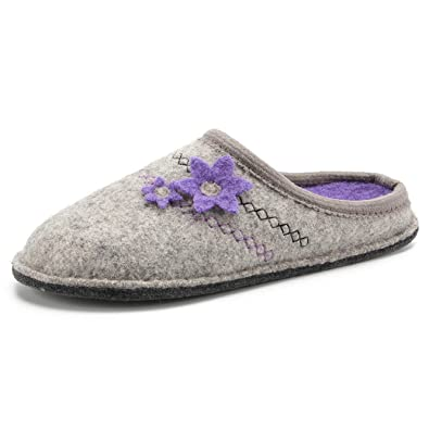 c73ae0d2fceb0 LE KAPMOZ Women's Breathable Boiled Wool Slippers Winter Warm Slip on House  Shoes for Lady Indoor Outdoor Arch Support Mule Slipper
