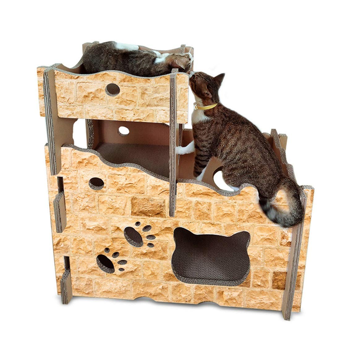 Castle Cat House Hyue Cat House Cat Scratch Board Corrugated Paper Climbing Frame Cat Litter, Cat Castle Indoor and Outdoor cat House (color   Castle Cat House)