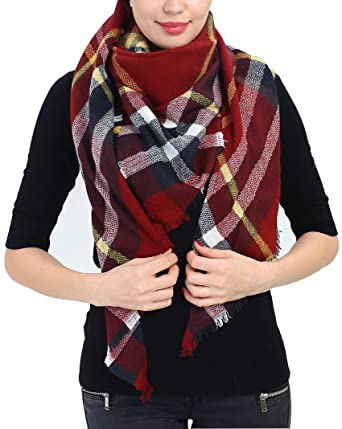 blanket scarf christmas scarf gift plaid shawl unique christmas scarf gift design half square scarf - Christmas Plaid Scarf