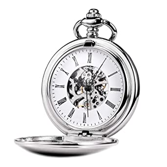 4e924b68771fd Image Unavailable. Image not available for. Color  TREEWETO Silver Smooth  Menchanical Pocket Watches Steampunk Vintage Roman Numerals ...