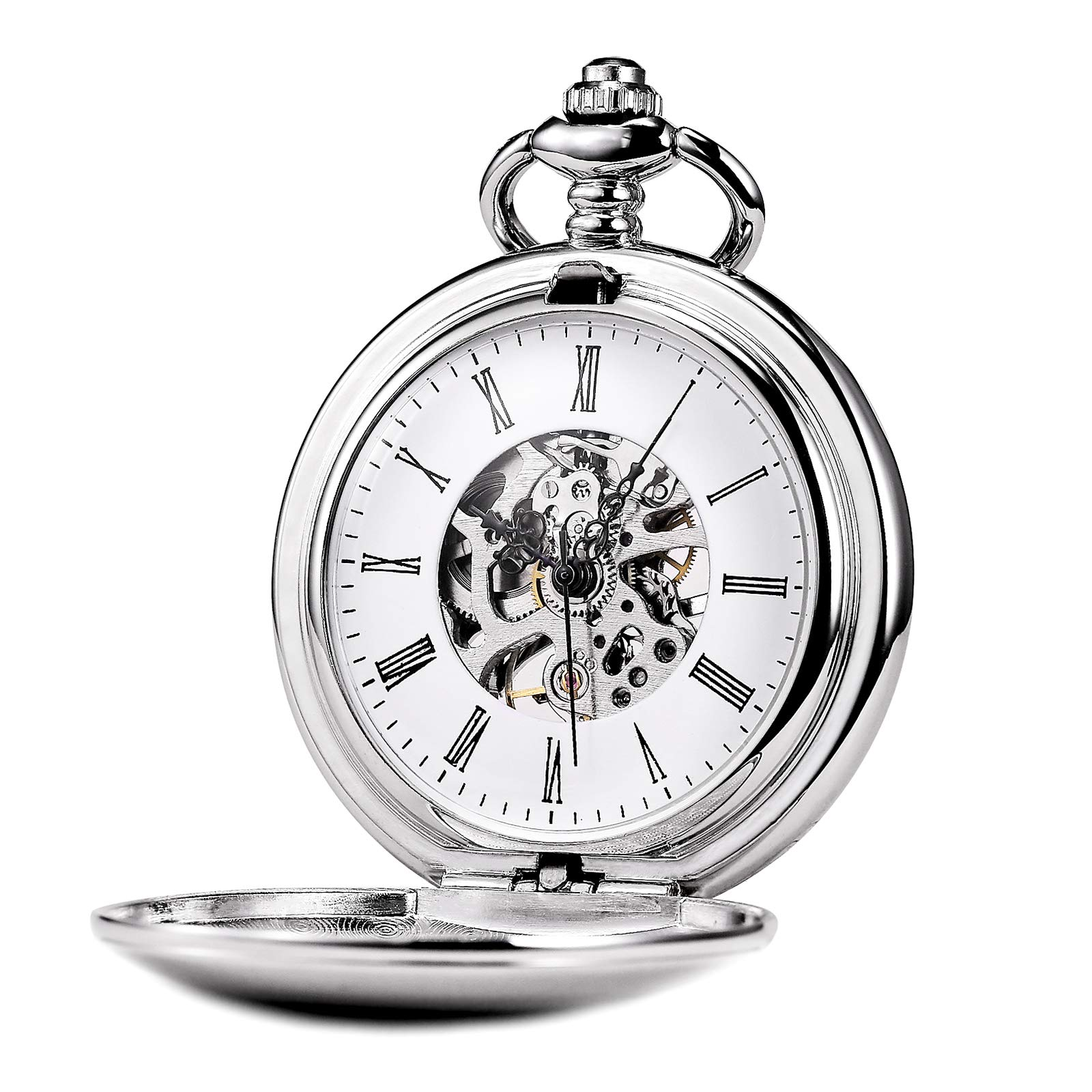 TREEWETO Silver Smooth Menchanical Pocket Watches Steampunk Vintage Roman Numerals for Mens Womens
