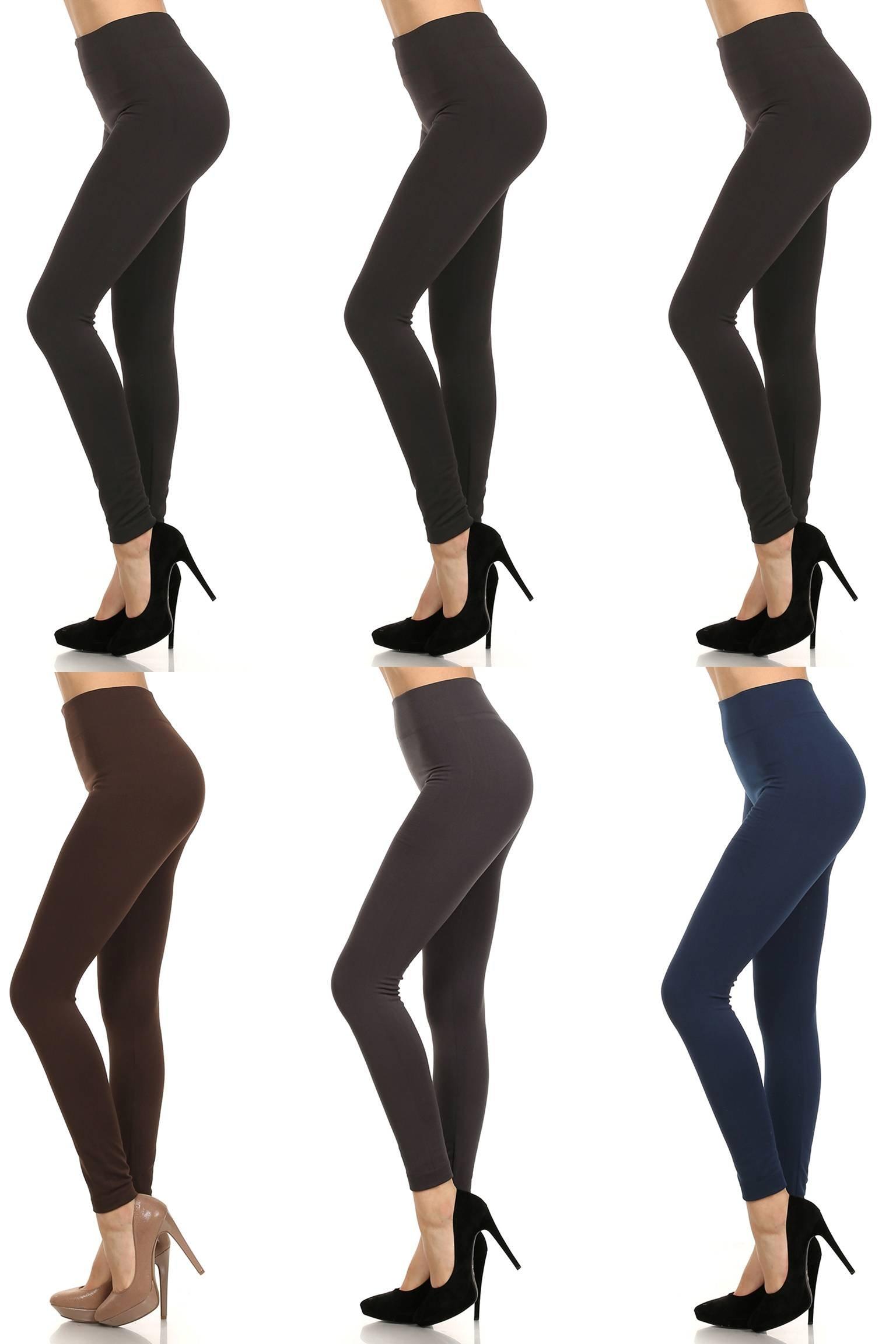 MOPAS 6-pack: Seamless Fleece Lined Leggings - Stretchy Multi Colors by MOPAS