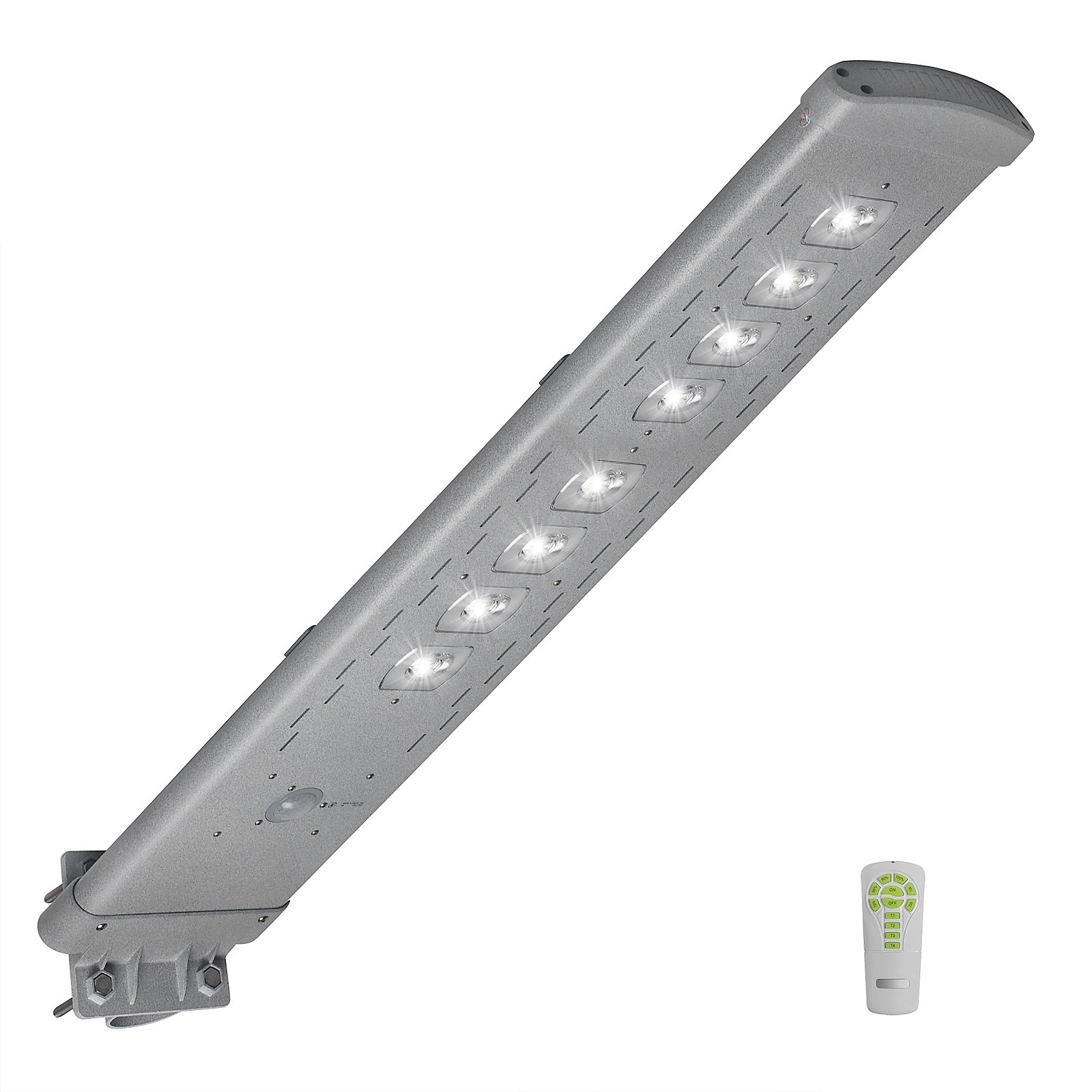 GBGS 4,500LM Commercial Solar Street Light Outdoor IP65 with Remote All in One Post Area Lighting Dusk to Dawn PIR Motion Sensor Mounted Garden Lamp (Product Size: 42.18.75.9inch, 80 LEDs, 6500K, )