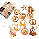 Holy Land Market Olive Wood Ornaments - Mix (Set of 12 Flat Ornaments).