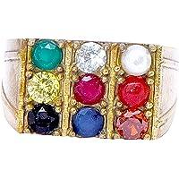 PANDIT NM SHRIMALI Navratna Gold Plated Energised Navgrah Ring 9 Gemstone Unisex Navratan Ring, Multicolour