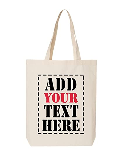 Amazon.com  DESIGN YOUR OWN Canvas Tote Bag - Add Your Text Print ... 7f1cd51a9