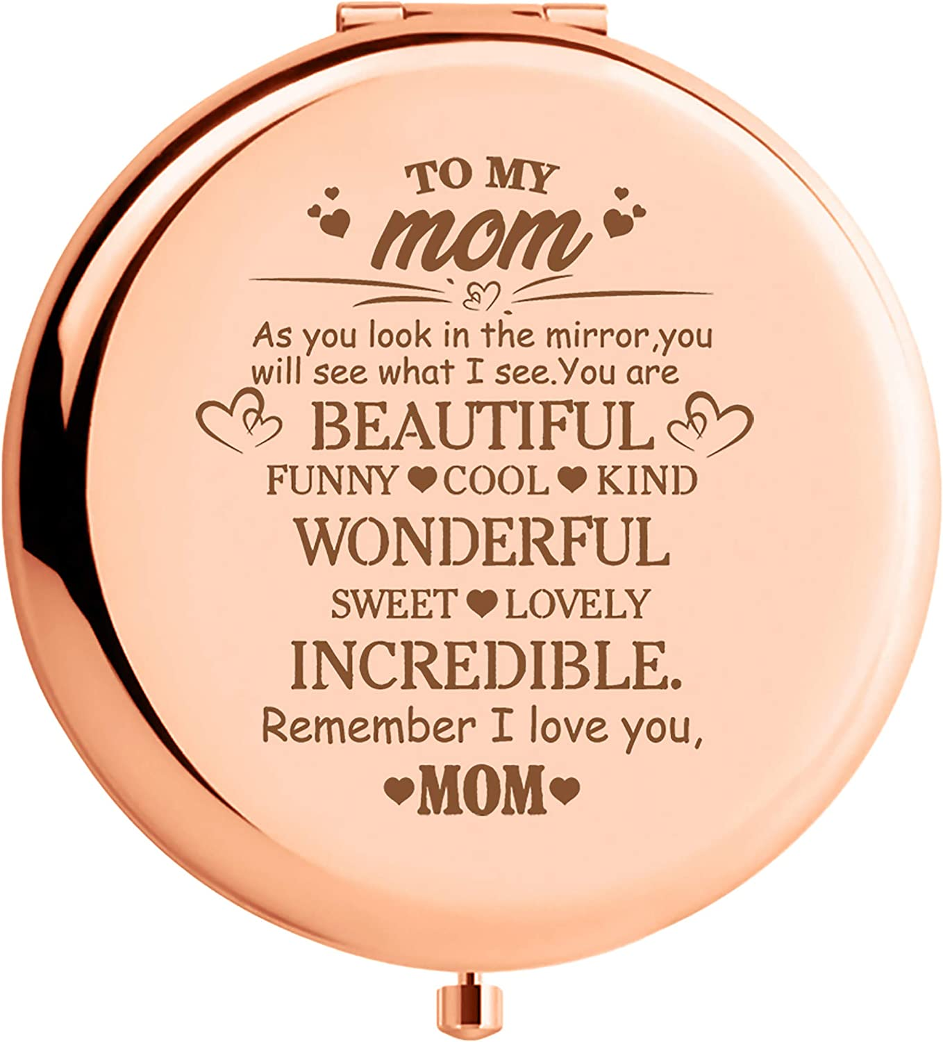 WIEZO-USA Mother'day Gifts - Rose Gold Mirror Gift for mom - to My mom - You are Beautiful Funny Cool Kind.Remember I Love You mom
