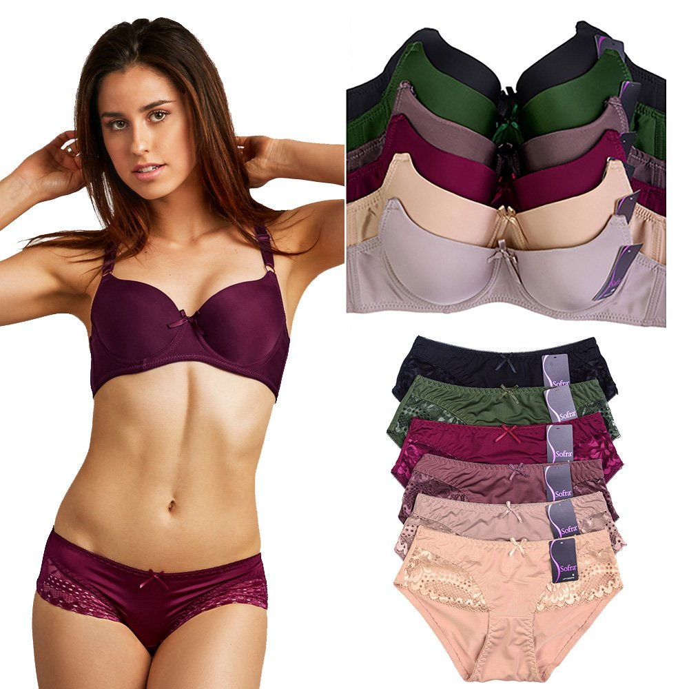 Uni Style Apparel Womens Plain Full Cup Bra and Bikini Panty Set -12 Pack (6 Pieces Each) (38C, Medium)